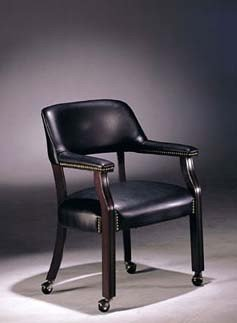 Beau Captain Chair With Casters Dark Blue Bycast Leather
