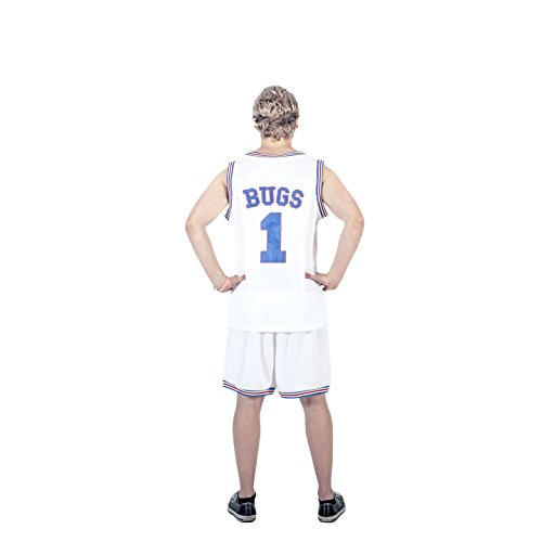 [Space Jam Tune Squad Logo Bugs Bunny #1 White Basketball Jersey (Large)] (Bugs Bunny Tune Squad Costume)
