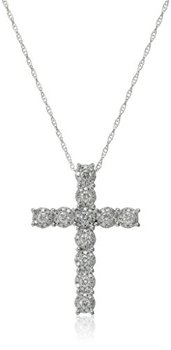 10k White Gold Cluster Cross Diamond Pendant Necklaces (5/8cttw, H-I Color, I1-I2 Clarity), 18
