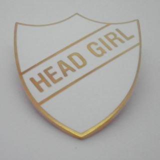 Head Girl Enamel School Shield Badge - White - Pack of 5