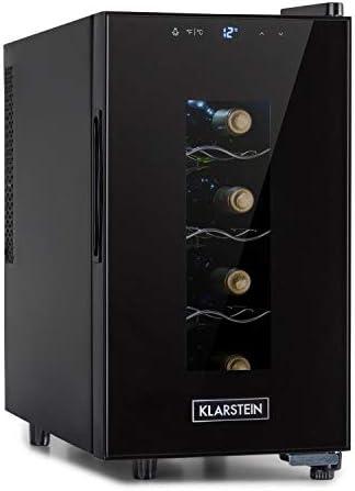 Klarstein Bellevin Uno nevera para vinos, temperatura: 11-18 °C, ruido: 26 dB, 3 baldas metálicas, luces LED, protección UV, nevera independiente para encimera, 23 litros / 8 botellas, negro[Clase de eficiencia energética G]