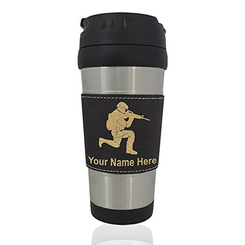 Travel Mug, Military Soldier, Personalized Engraving Included (Black)