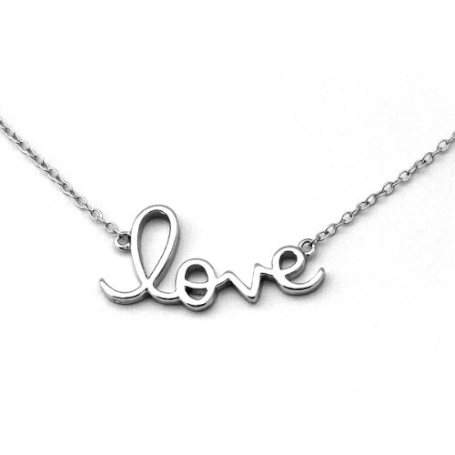 Amazon solid sterling silver rhodium plated love pendant amazon solid sterling silver rhodium plated love pendant necklace 18 pendant necklaces jewelry mozeypictures Images