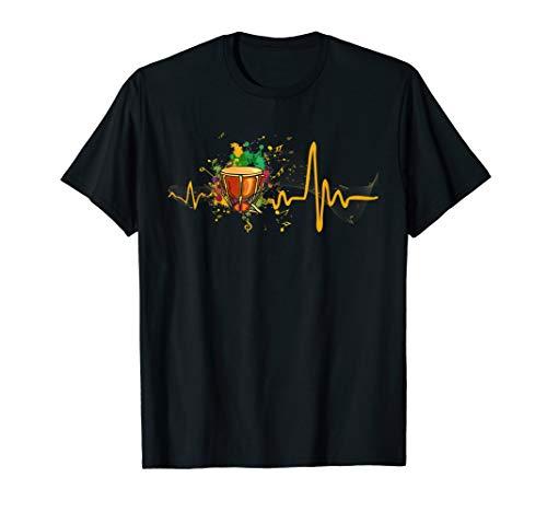 Heartbeat Djembe Drum Funny Tshirt For Djembe Lover