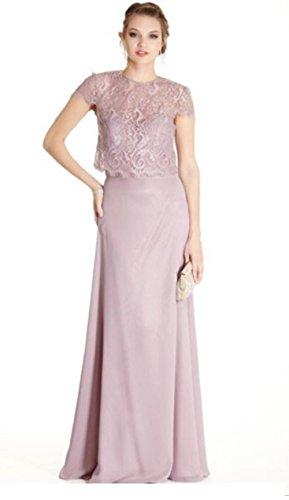 Love My Seamless Women's Ladies Mother of The Bride Removable Lace Bolero Chiffon Dress (Small, Mauve)