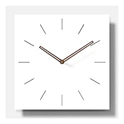 11.4 White Square Non Ticking Wooden Wall Clock Simple Modern Scandinivian Design (Bars)