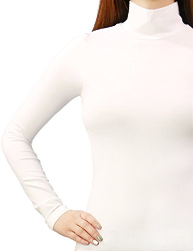 Womens High Quality Free Size Stretchy Nylon Turltle Neck Top (ONE SIZE, WHITE)