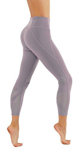 CodeFit Yoga Pants Power Flex Dry-Fit Cut Out Mesh Panels 7/8 Length Leggings (L USA 8-10, CF.812-LEV)