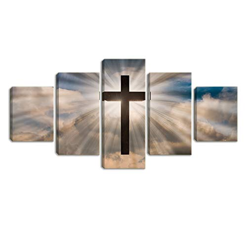 KALAWA 5 Piece Jesus Christ Cross On a Dramatic Sky with Clouds Sunbeams Coming from Behind The Wooden Cross of The Risen Jesus Canvas Print Wall Art Framed Ready to Hang(70''W x 40''H)