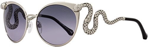 Roberto Cavalli Women's Menkalinan 890S 890/S 16B Silver Snake Cat Eye Sunglasses - Eyes Snake Sunglasses