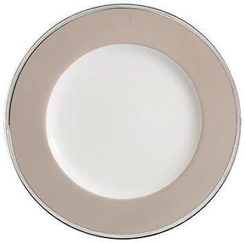 Vorlage Teller 32 cm, Porzellan, weiß, Netz, Platin, 4 mm Band ...