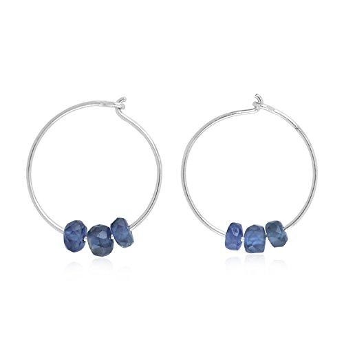 18K White Gold Natural Blue Sapphire Beads Tiny Huggie Hoop Earrings (12 mm diameter) 18k White Gold Bead