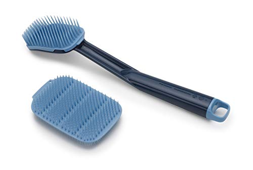 Joseph Joseph CleanTech Dish Brush and Reusable Sponge Scrubber Set Hygienic Quick-Dry, Blue