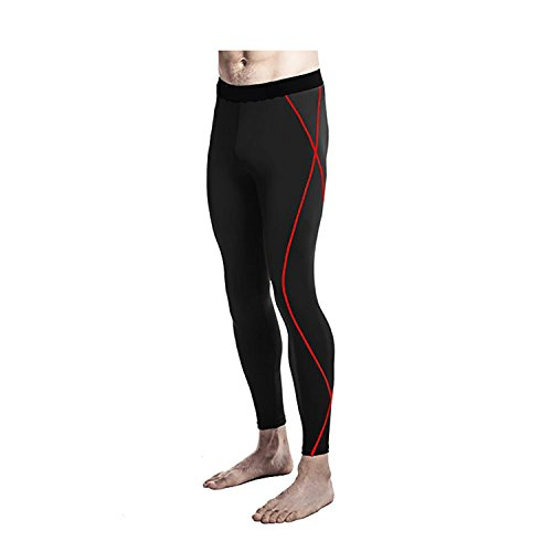 B Dressy Running Fitness Clothing Sports Pants Men's Training Tight Pants,Black + red line,XXXL - Luxe Bolster