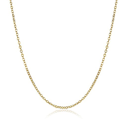 Huangiao 18K Gold/White Gold/Rose Gold Plated Rolo Chain Necklace Charms Link Necklace 1.5MM ()