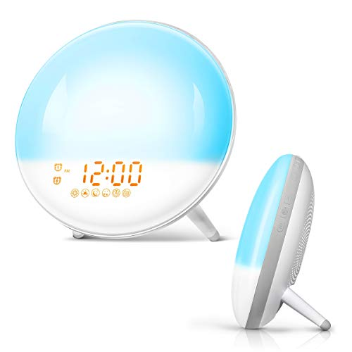 FIMITECH Wake Up Light, Alarm Clock 7 Colored Sunrise Simulation and Sunset Fading, Dual Alarm Clock with 7 Natural Sound and FM Radio for Bedroom