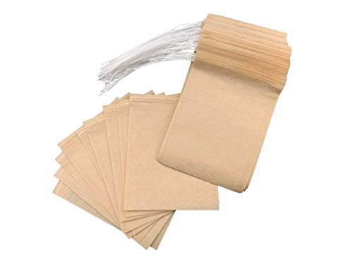 - JIANG Tea Filter Bags 120 pcs Tea Bags Empty Original Color Filter Paper Disposable Infuser with Drawstrin, 2.75x3.54inch/7x9centimeter.