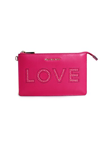 Michael Michael Kors Medium Gusset Leather Love Wristlet In Ultra Pink