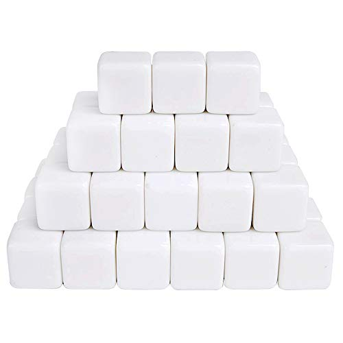 JEVERGN 16mm Acrylic Blank White Dice Cubes - D6 Dice with Dice Bag for Board Games, DIY, Fun and Teaching - 50Pcs