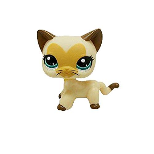 Store Cream Tan Brown Hair Short Cat Face Heart Pet Shop Cat Kitty LPS # 3573 Gift for boy Girl