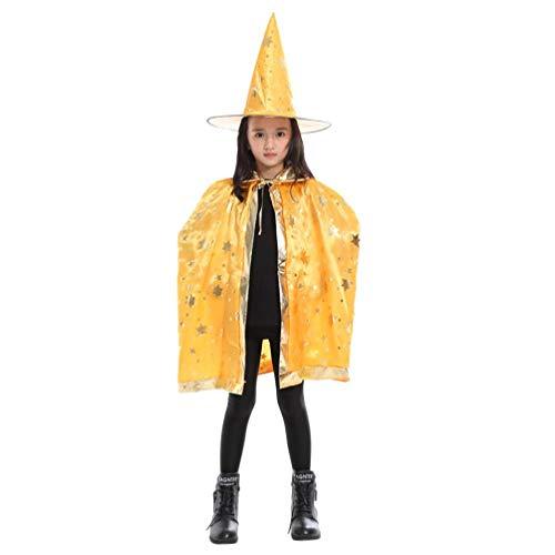 Fullfun Adult Children Halloween Cosplay Costume Wizard Witch Cloak Cape Robe + Hat Set (Yellow)