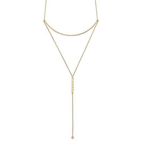 Bar Necklace 14 Karat Gold on Sterling Silver Y Shaped Drop Delicate Necklace by inBLISS
