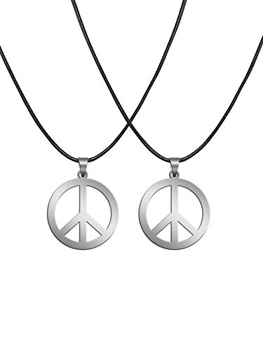 Sunshane 2 Pack Hippie Style Peace Sign Necklace Hippie Party Dressing Accessories, Silver -