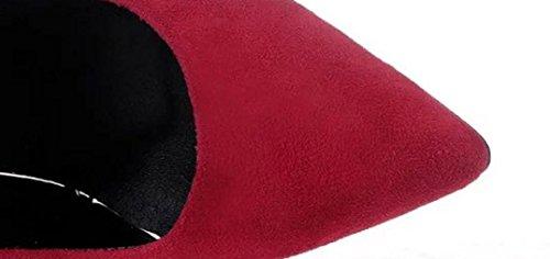 Profond Bec Rawdah Peu Lady Hauts D'Affaires De Daim De Talons Haut Hauts Rouge Élégant Femelle Fashion De Loisirs Talon Poisson Couleur Unie Talons Bureau En qw1rUaqT
