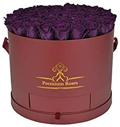 Real Roses That Last 365 Days| Premium Roses Collections| Valentine's Day| Anniversary| Roses in Box| Roses with Longevity| Widdig Arrangement| Luxury Flowers| Flowers in Box (X-Large, Burgundy)