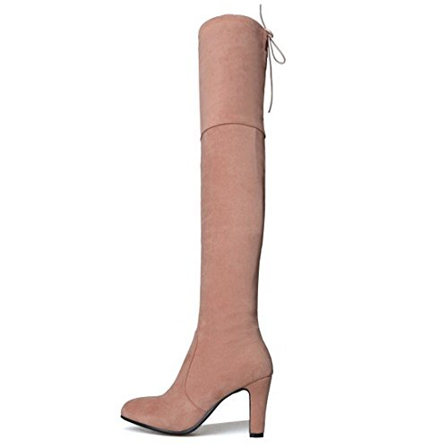 Knee Winter Hohe Damen Over COOLCEPT Stiefel Ferse Zip Pink Xwq55v
