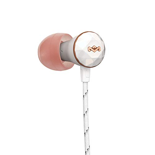House of Marley Nesta Headphones Noise Cancelling Earbuds with a Microphone, Rose Gold
