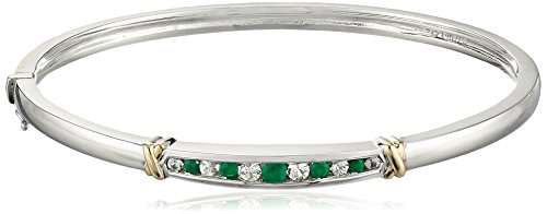 Sterling Silver and 14k Yellow Gold Emerald and White Sapphire Bangle Bracelet - 14k Yellow Gold Sapphire Bracelet