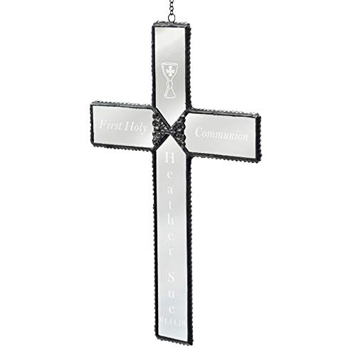 - J Devlin ORN 301-2 EO113 Personalized Baptism Cross Ornament Engraved Baptized in Christ Window Sun Catcher Christian
