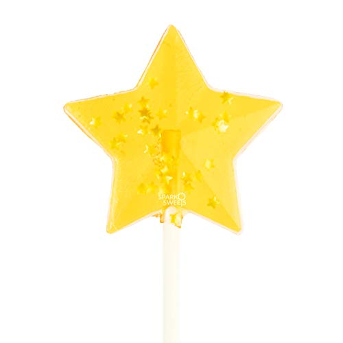 Sparkly Yellow Star Lollipops, 24 Pieces, Peach Flavor, Made in USA -