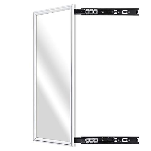 KDKD Dressing Mirror Mounted with Retractable Rail for Wardrobe, Pull Out Full - Slide Out Bathroom Mirrors