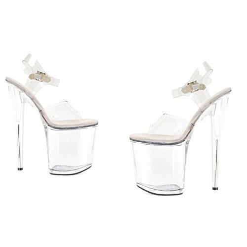 Ellie 850-brook Dames Sexy Comfortabele 8 Hak Clear Sandal Clear
