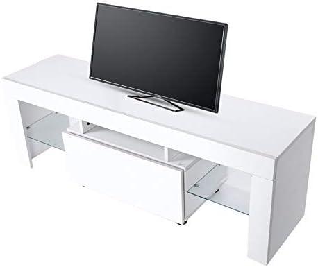 Gabinete de TV Moderno con LED,Mesa de Televisión Madera,Estantes Laterales de Vidrio,Estante para Reproductor de DVD y 1 cajón, Blanco,130 x 35 x 45 cm: Amazon.es: Hogar