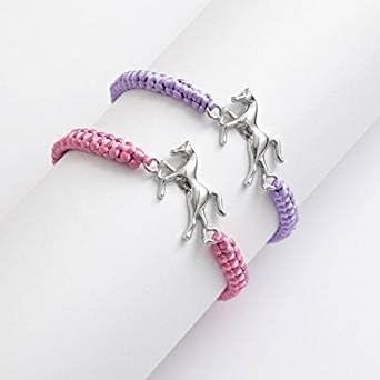 Pulsera de cordón ajustable con centro de caballo de metal, 2 colores, uno al azar