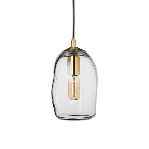 Casamotion Mini Pendant Lighting Handblown Glass Drop ceiling lights, Organic Contemporary Style Hanging Light, (Above Sink Lighting)
