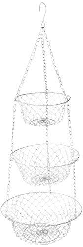 Fox Run 52101 White 3-Tier Kitchen Hanging Fruit Baskets, 32 Inches