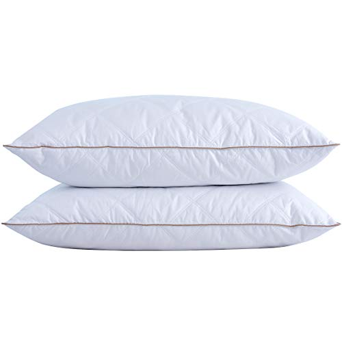 Cotton Duck Pillow - puredown Natural Goose Down Feather Pillows for Sleeping with 100% Cotton Pillow Downproof Cover White Set of 2 King Size