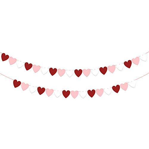 KatchOn Felt Heart Garland Banner Decorations - Pack of 33, No DIY | White, Pink and Red Paper Felt Garland | Great for Valentines Day Décor Supplies, Anniversary Backdrop and Wedding ()