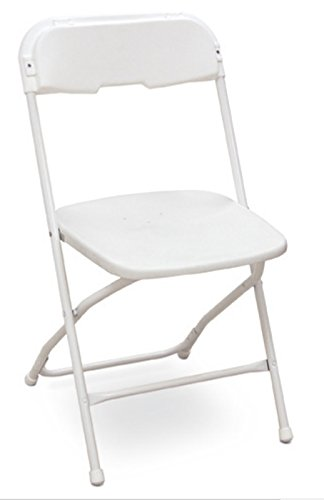 McCourt 51050 Dining Height Stackable Folding Chair, Bright White Frame, Single, Bright White Seat/Back