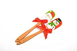 "May fifteenth 12"" Easy Flex 2 Piece Silicone Spatula scraper Set - Santa Spatula /Snow Man Spatula for Christmas Kitchen Tools"