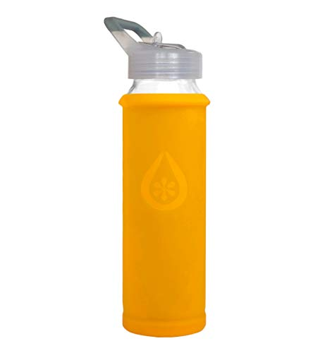 Eveau Glass Water Bottle with Straw Lid, Mango Bumperguard Silicone Sleeve, Wide Mouth Opening, 21 Ounce/630 ml ()