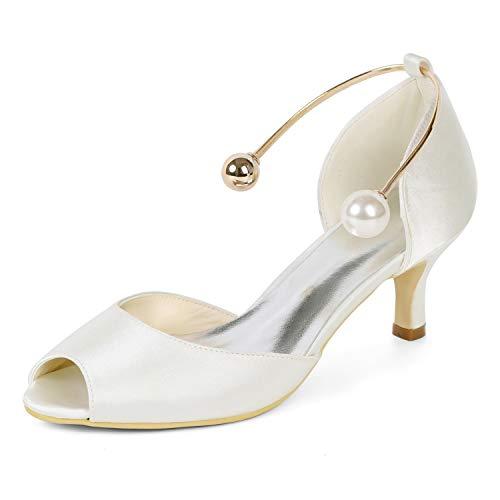 Boda 6cm Ivory Evening yc 35 43 Satin Mujer Toe Buckle Heel Bridesmaid Altos De L Zapatos Tamaño Tacones Peep nYIxqaUFaw