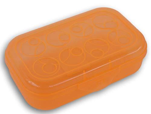Pencil Case Box with Circle Patterned Lid (Orange) (Sterilite Pencil Box With Splash Tint Lid)
