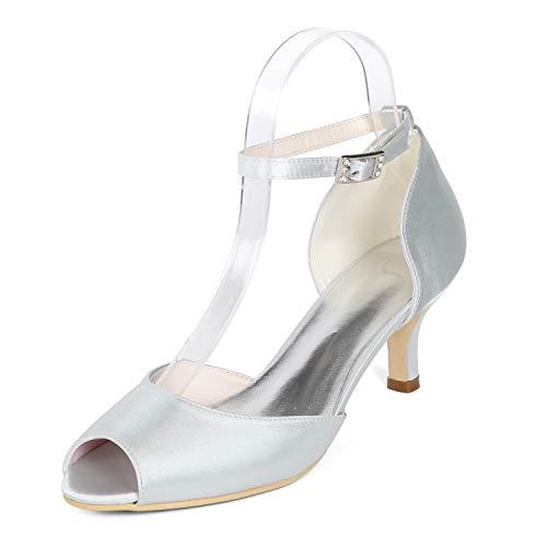 Stiletto Schnalle Peep Hochzeit 6cm Toe Frauen Silver 35 Abendkleid L Heels High Ferse Schuhe YC 43 Xwqx7yIB