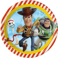 Juego de Mesa de Fiesta de Madera y Buzz Lightyear Kit n./º 23 CDC- 24 Platos, 24 Vasos, 40 servilletas, 1 Mantel + Regalo Party Store web by casa dolce casa Toy Story 4
