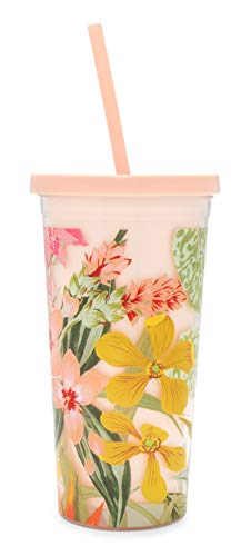 Ban.do Floral Insulated Sip Sip Tumbler With Reusable Silicone Straw, 20 Ounces, Paradiso -